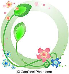 verde, primavera, marco, con, flores