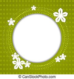 verde, primavera, plano de fondo, con, flores blancas