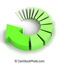verde, proceso, flecha