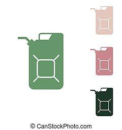 verde, puce, jerry, illustration., unos, aceite, signo., arena, verde, icono, jerrycan, blanco, lata, desierto, selva, pequeño, ruso, fondo.