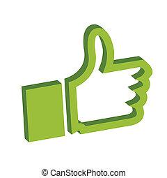 verde, pulgares arriba