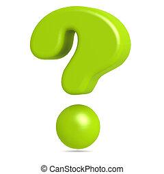verde, punto interrogativo