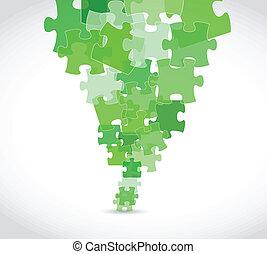 verde, puzzle, disegno, illustrazione, pezzi