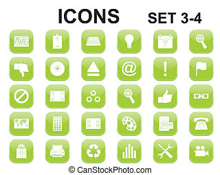 verde, quadrado, arredondado, ícones