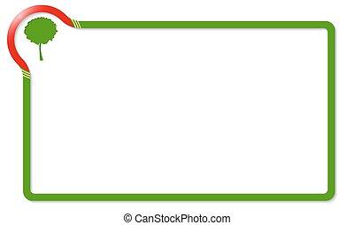 verde, quadro, árvore, vermelho, canto