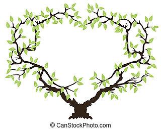 verde, quadro, árvore