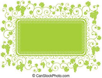verde, quadro, uva