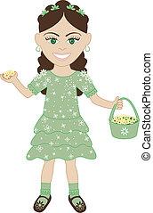 verde, ragazza, vestito fiore