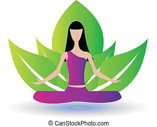 verde, ragazza, yoga, mette foglie, logotipo