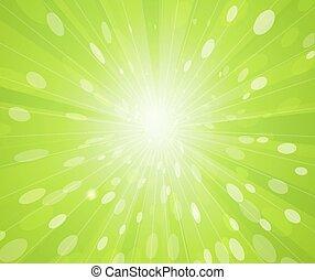 verde, raggi, soleggiato, fondo