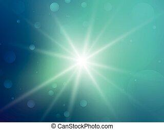 verde, raggi, stella, bokeh, fondo