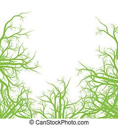 verde, raizes, ecologia, fundo, vetorial