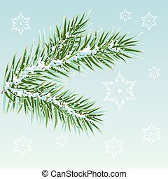 verde, ramos, neve, pinho