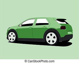 verde, realista, ilustración, ventana trasera, vector,...