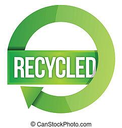 verde, reciclado, estampilla