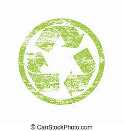verde, reciclado, sinal, sobre, branca