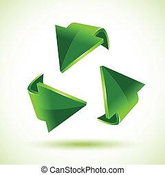 verde, reciclaje, flechas
