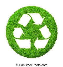 verde, reciclar el símbolo