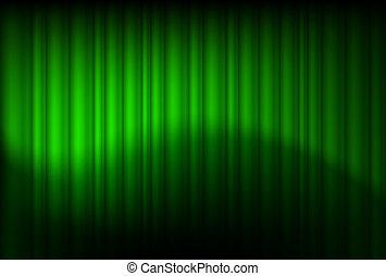 verde, reflejado, cortinas