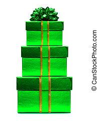 verde, regali natale, accatastato