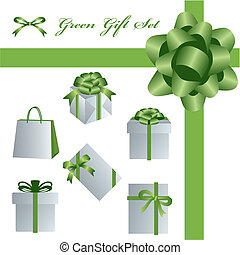 verde, regalo, set