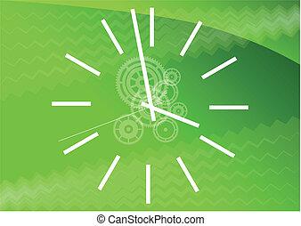 verde, reloj