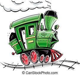 verde, retro, caricatura, locomotiva