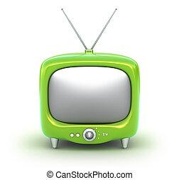 verde, retro, tv, set., isolato