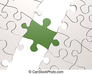verde, rompecabezas, como, un, puente