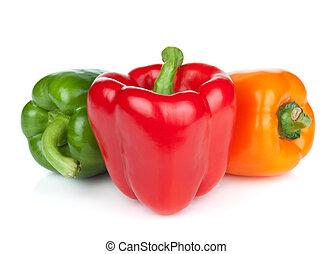 verde, rosso, e, arancia, pepe campana