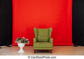 verde rosso, interno, stanza, nero, sedia, vendemmia