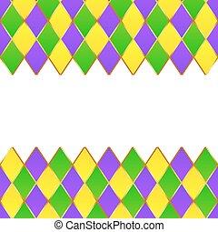 verde, roxo, amarela, grade, mardi gras, quadro