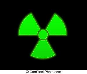 verde, símbolo, radioactivo