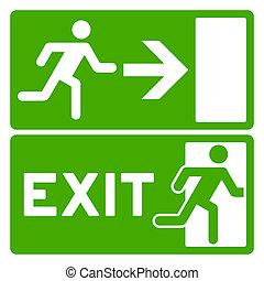 verde, símbolo, saída