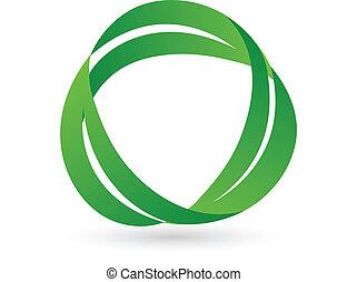 verde, salute, mette foglie, logotipo