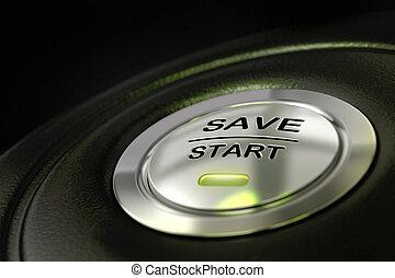 verde, salvar, conceito, poupar, experiência., effect., dinheiro, abstratos, textured, material, foco, botão, início, pretas, borrão, metal palavra, principal, cor