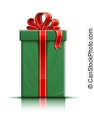 verde, scatola regalo, con, seta rossa, nastro, e, arco
