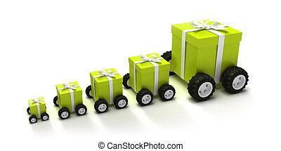 verde, scatole, convoglio, regalo