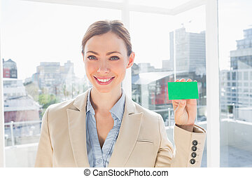 verde, scheda, affari, esposizione, sorridente, donna d'affari