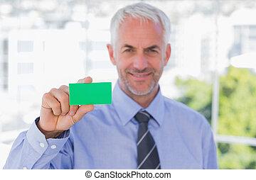 verde, scheda, affari, esposizione, uomo affari, felice