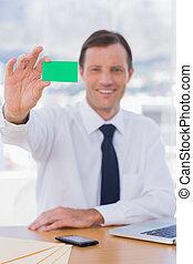 verde, scheda, affari, presa a terra, uomo affari, allegro