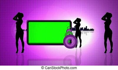 verde, schermi, accanto a, ballo, silho