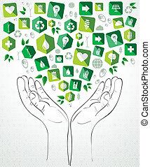 verde, schizzo, mani, disegno