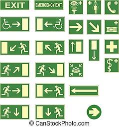 verde, señales de salida