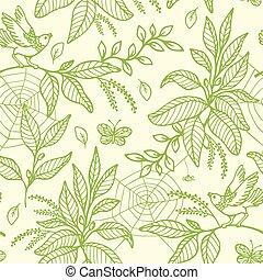 verde, seamless, patrón, con, plantas, y, aves
