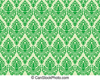 verde, seamless, struttura, damasco