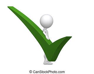 verde, segno spunta, con, 3d, uomo