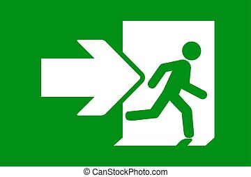 verde, segno., uscita, emergenza