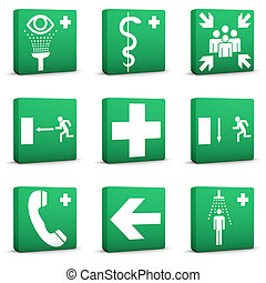 verde, seguridad, señales, -, conjunto, 01