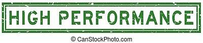verde, sello, grunge, cuadrado, palabra, alto, blanco, estampilla, plano de fondo, caucho, rendimiento
